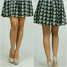 BLACK LEOPARD SKIRT Black and white skirt with leopards. Perfect with tights and a jacket. Moon Collection Skirts Circle & Skater