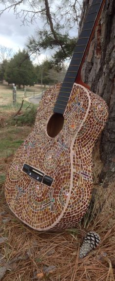 Dragonfly in Amber Mosaic Guitar by CarlaAlexander on Etsy, $400.00