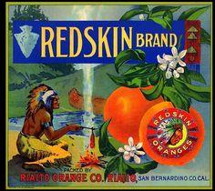 Rialto CA, Redskin brand fruit crate label
