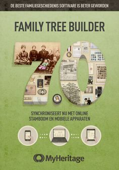 Family Tree Builder 7.0 - Freemium genealogieprogramma, met onbeperkte datainvoer, diagrammen, rapportages, verwantschapsrekenmodule, dubbele personen zoeken, zoeken & vervangen, GEDCOM import & export, Smart Matches, Record Matches, Excelexport functie, synchronisatie met een gratis familiesite en de MyHeritage mobiele applicatie voor iPad, iPhone en Androidtoestellen. Download gratis via www.myheritage.nl/ftb