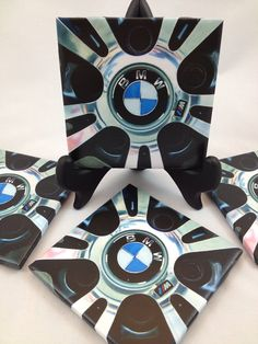 Set of Four BMW Tile Coasters. by TheCoasterAttic on Etsy, $15.00
