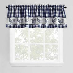 Park B. Smith Provencal Rooster Window Valance in Navy