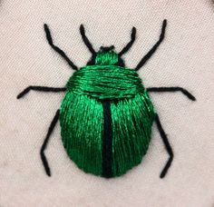 Stumpwork fascinates me. Stumpwork beetle (green june bug - Cotinus nitida) inspired by the work of Jane Nicholas and Di van Niekerk. Crewel Embroidery, Ribbon Embroidery, Cross Stitch Embroidery, Embroidery Patterns, Embroidery Floss Crafts, Art Patterns, Japanese Embroidery, Embroidery Needles, Diy Broderie