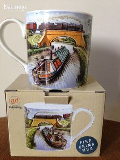 CANAL BOAT & STEAM TRAIN  COUNTRY RIVER SCENE~CHINA MUG~GIFT BOXED~FREE POST UK