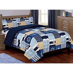 2 Piece Kids Sailor Themed Comforter Twin XL Set, Sealife Inspired Bedding, Nautical Blue Yellow Patchwork Design, Features Sea Creatures, Anchors Ship Wheel Sail Boats Stripes, Reversible Blue Yellow //Price: $41.27 & FREE Shipping // #hashtag3