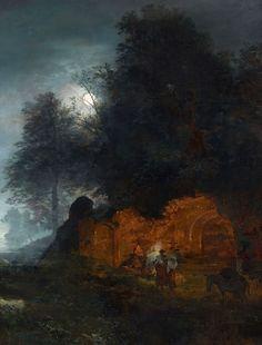 "Oswald Achenbach (German, 1827-1905), ""Italienische Abendlandschaft mit einer Grotte/Italian Twilight Landscape with a Grotto"" (1893) Oil on canvas, 101 x 78 cm Private collection"