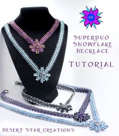 SuperDuo Winter Snowflake Necklace Pattern by DesertStarCreations