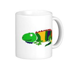 Funky Primitive Art Iguana Coffee  #iguanas #animals #funny #mugs #art #zazzle #petspower