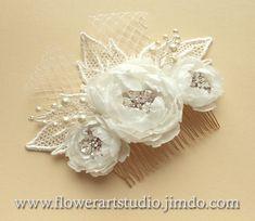 Ivory Bridal Hair Flower Bridal Hair by Flowerartstudio on Etsy, $45.00