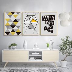 """Abstract Geometric WHY Letters Canvas Paintings Wall Art Print Poster Picture for Living Room Interior Home Decorations No Frame"" Interior, Wall Art Painting, Geometric Wall Art, Room Wall Art, Home Decor, Living Room Interior, Living Room Pictures, Original Wall Art, House Interior Decor"