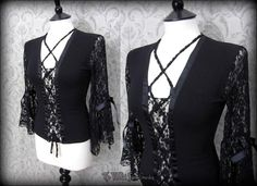 Gothic Romantic Black Lace Up Corset Style Drape Sleeve Top M 10 Victorian Vamp | THE WILTED ROSE GARDEN