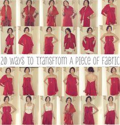 20 Ways To Transform A Piece of Fabric Into A Shirt, Skirt, & Dress!