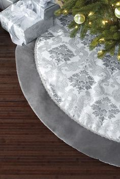 our luxurious silver brocade tree skirt is 66 inches in diameter it features a traditional - Silver Christmas Tree Skirt