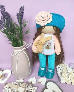 Excited to share the latest addition to my #etsy shop: Interior Turquoise doll Handmade Rag Doll Brunette Curly Doll Tilda Baby Doll Home Decoration Fabric Doll Love Nursery Doll Decor Soft Doll https://etsy.me/2z4Gihi