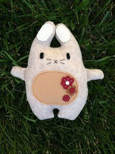 Chubby Bunny with flower design by AppleOrchardPlush on Etsy