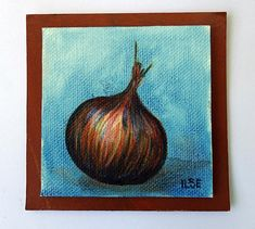 Onion, miniature oil painting on canvas panel, small vegetable art, mini painting, hand-painted tiny picture, wall decor, yellow onion, Ilse