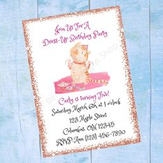 Personalized Dress-Up Birthday Invitation - Girls Childrens Printable Birthday Invite - Digital Print Email or Text Custom Baby Shower Invitations, Printable Birthday Invitations, Personalized Invitations, Childrens Wall Art, Online Printing Companies, Baby Wall Art, Types Of Printer, Pattern Paper, Special Day