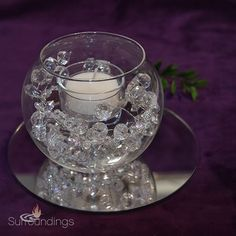 Bubble Crystal Candle Centerpiece Kit, just add some flower petals Bling Wedding Centerpieces, Banquet Centerpieces, Pearl Centerpiece, Crystal Centerpieces, Unique Centerpieces, Wedding Reception Decorations, Centerpiece Ideas, Fishbowl Centerpiece, Centerpiece Flowers