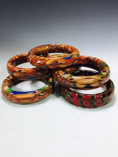 Colored Pencil Wood Bangle Bracelet Turned on a wood by AATurning