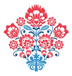 Polish folk art pattern with flowers - wycinanka vector by RedKoala on VectorStock®