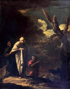 """Salvatore Rosa, View With Three Characters (""""Lo spavento"""", """"The Fright"""") oil on canvas, circa 1649,  Florence: Uffizi (not on display)"""