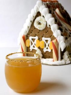 GINGERBREAD APPLE COCKTAIL= 2oz. Domaine De Canton, 1 oz.Vanilla Vodka,2.5 oz. Apple Cider, few drops lemon juice.  Mix well in a shaker.  Line the chilled glass w agave syrup,then dip on plate of crushed graham crackers...grate a bit of fresh orange zest on top.