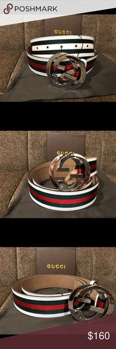 Authentic Men's White Green Red Gucci Belt Hi🌲🌲🌲🌲Happy holidays the holidays means great gifts , You're looking at an Authentic Gucci Belt! This item is made in Italy and is a great quality belt. Belt dust bag and original tags   Order it before 3:30PM EST and it'll be priority shipped to you the same day!  Any other questions please feel free to ask away!  Happy shopping and happy holidays 🌲🌲🌲 More items bundled ?  More money saved ! 💰💰💰 Gucci Accessories Belts