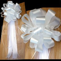 elegant wedding bows for church doors | 10 White Pew Bows Floral Satin Tulle Wedding Church Party Chair ...