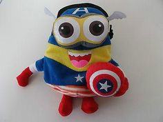 Captain America Minion Rock Climbing Chalk Bag made from a child's plush toy - Awesome Chalk Bags, Rock Climbing Chalk Bag - Rock Climbing Chalk Bag, Rock Climbing Chalk Bag - climbing chalk bag, [product _type] - chalk bag, Awesome Chalk Bags - Awesome Chalk Bags