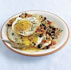 Rice & Beans with Fried Eggs--Served withsoft corn tortillas, this traditional Costa Rican dish works for breakfast, lunch, or dinner. Via FineCooking