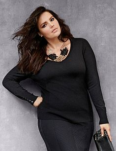 Your wardrobe essential for chillier days, our Classic V sweater gives you timeless style with endless outfit potential. Simply detailed with ribbed sides and button-accented cuffs, this versatile style wears well alone or layered and dressed up or down. Medium-weight knit offers a soft, feel-good fit for anytime comfort. lanebryant.com