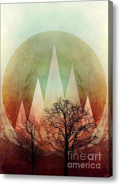 Trees Under Magic Mountains I Acrylic Print  #art #acrylicprint #artprint #canvases #fineartprints  #fineartamerica #marsala #trees #bäume #natur #triangles #geometric #branches #abstract  #piaschneider #ateliercolourvision #home #walldecor