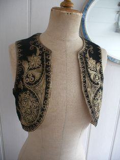 Ottoman embroidered bolero. Couched gold thread on black wool.