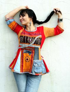 S-M banjara denim recycled dress tunic India sari by jamfashion