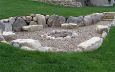 Organic rock and gravel fire pit. Organic rock and gravel fire pit.