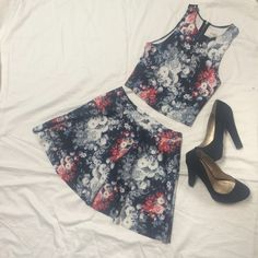 A&F Two Piece Floral Set Halter top with zipper up the back and skater skirt set - wore once for new years eve and never wore it again, thought id make some money off of it! Abercrombie & Fitch Dresses