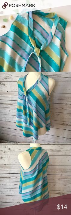 "⬇️SALE❗️Beach glass blue stripe sleeveless  top Lightweight crinkle type material, loose drape style sleeveless blouse in beautiful summery blue & green shades. Armholes & hem are serged.  Longer V hem front & back. Excellent condition, no stains or tears. Tags are missing so refer to measurements. All measurements are taken while item is laying flat and are approximate.   •Armpit to Armpit• 19"" •Length middle Front•23"".                           •Length sides• 23"" Tops"