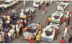 1969. Daytona 24 hours. Grid.  #2 Ford GT40 Hobbs/Hailwood  #6 Lola T70 Mk.3B GT Donohue/Parsons (winner)  #52 Porsche 908 Elford/Redman