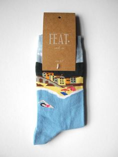 Blue Italian Holiday print sock - FEAT. sock co. http://featsockco.com/products/blue-italian-holiday-print-sock