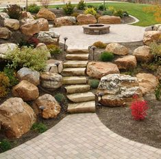 Rain and snow are going to play a huge part in your yard landscaping decisions. For example you will have to plan for your yard landscaping with care. These yard lan Landscaping With Boulders, Stone Landscaping, Backyard Landscaping, Landscaping Ideas, Decorative Landscaping Stone, Boulder Retaining Wall, Retaining Walls, Small Outdoor Spaces, Fire Pit Backyard