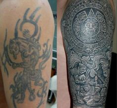 Make a design that won't simply cover up a tattoo but something you will be proud to show off. Here's a good design that could cover up old tattoos pretty well and looks awesome.