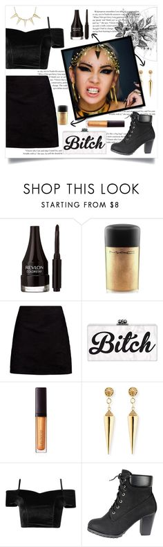 """""""Black Gold"""" by chicken-nuggs ❤ liked on Polyvore featuring Revlon, MAC Cosmetics, Boohoo, Laura Mercier, Sydney Evan, Boudicca, outfit, gold and black"""