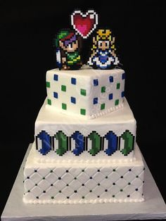 Geek Chic Patty Cakes 2012 Wedding Cakes - Legend of Zelda with Blue and Green Rupees Someone please do this for me I will love you forever Cute Wedding Ideas, Wedding With Kids, Amazing Wedding Cakes, Amazing Cakes, Zelda Cake, Video Game Wedding, Zelda Birthday, Video Game Cakes, Geek Wedding