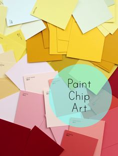 Paint Chip art station number 1, this is  super easy just the plain squares kids can glue on cardboard.