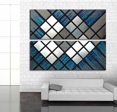 Modern Wall Art Metal Wood Geometric Painting Decor Contemporary