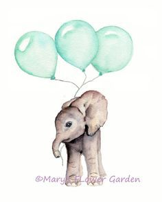 Elephant with mint balloons nursery print *** Vertical print from my original watercolor painting use the drop down box to select your size 3 sizes available.... 5 X 7, 8 X 10 and 11 X 14 *** printed on 100% archival cotton rag fine art paper - 2 colors available.... white or natural white/off white *** Epson Ultra chrome archival pigment inks are used *** prints will be shipped inside a protective sleeve inside a stiff photo mailer *** copyright mark will not appear on your print A n...