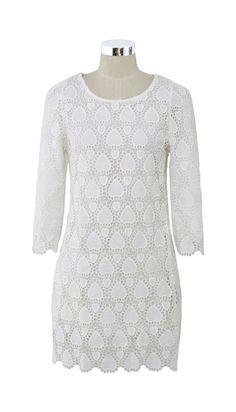 Crochet Heart White Dress - so pretty for a rehearsal dinner dress!
