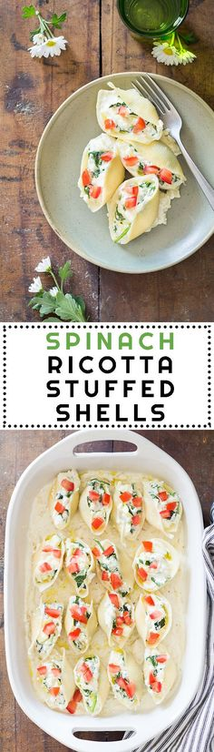 A super filling, healthy, quick and easy to prepare dish perfect for summer: Spinach Ricotta Stuffed Shells! A pasta recipe to print and save forever!