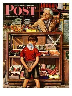 """Penny Candy,"" Saturday Evening Post, September 23, 1944 - Artist is Stevan Dohanos"