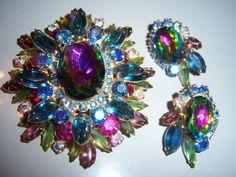 Vtg Juliana D E Watermelon Rhinestone Brooch Pin Earring Set Book Piece   eBay